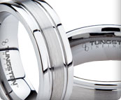 Brushed and Faceted Tungsten Bands